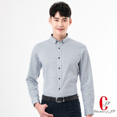Christian 職人品味直條紋襯衫_白藍條(RW813-80)
