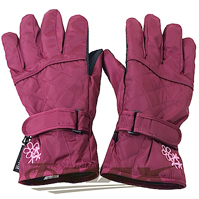 OMAX菱格花防潑水防寒機車手套-紅色-快