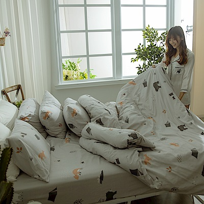 AmissU 台灣製200織紗天然純棉單人床包雙人被套三件組 熊舍物語