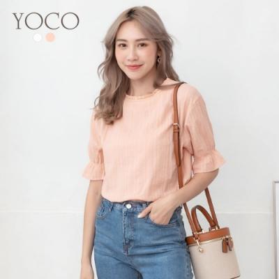 東京著衣-YOCO 氣質甜心鏤空花邊喇叭袖上衣-S.M.L(共二色)