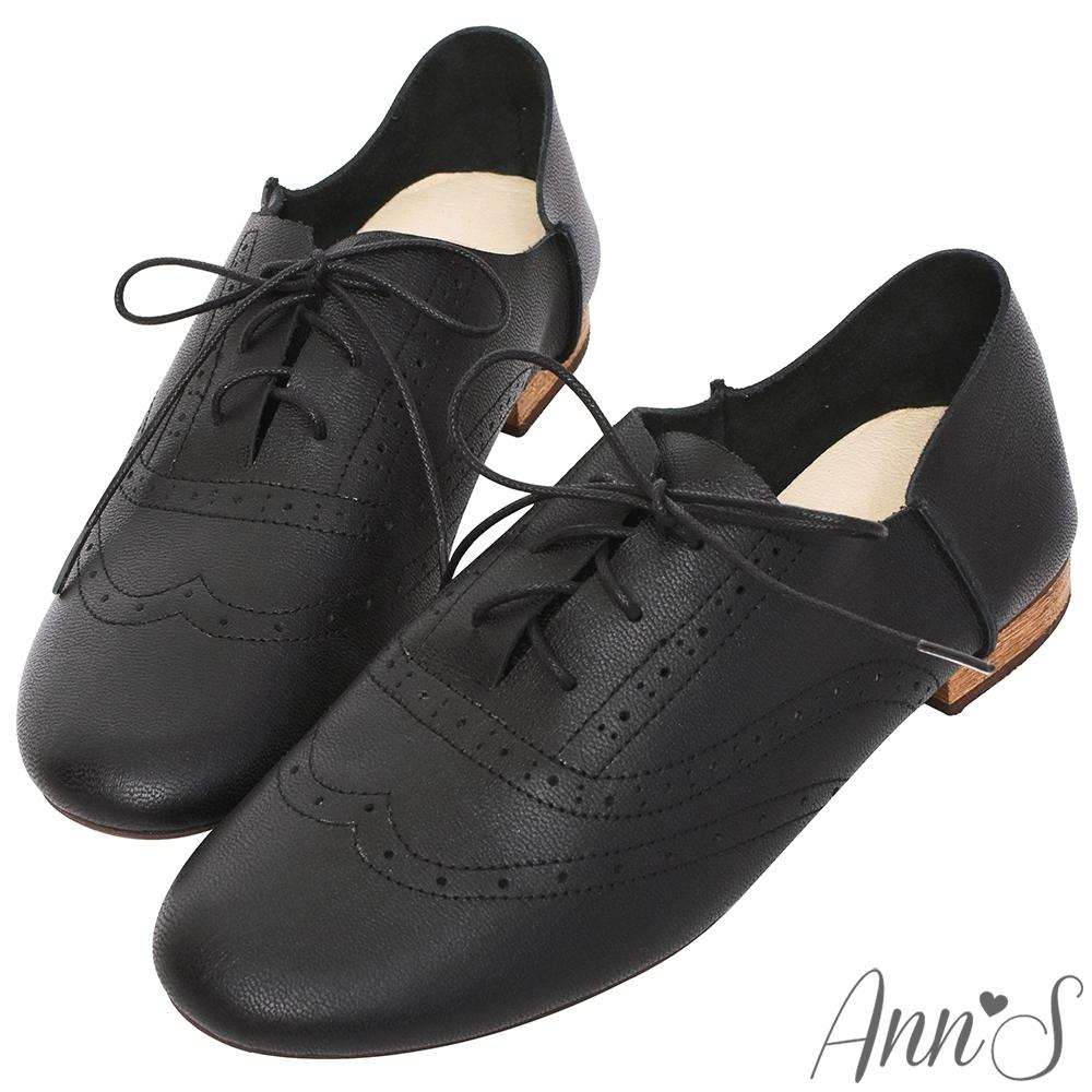 Ann'S乾淨自然-細膩雕花真皮平底英倫牛津鞋-黑