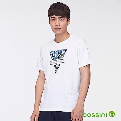 bossini男裝-印花短袖T恤43白