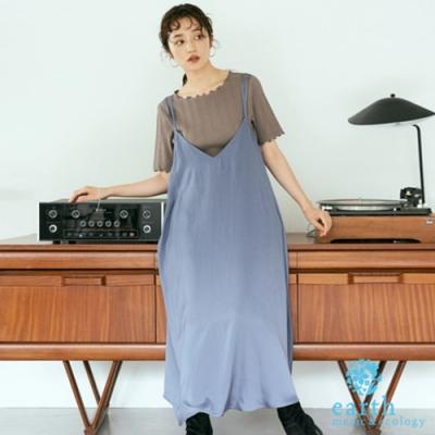 earth music 【SET ITEM】細肩帶緞面洋裝+捲邊短袖上衣