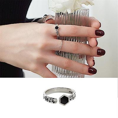 梨花HaNA-韓國925銀絕麗復古六邊型黑石戒指
