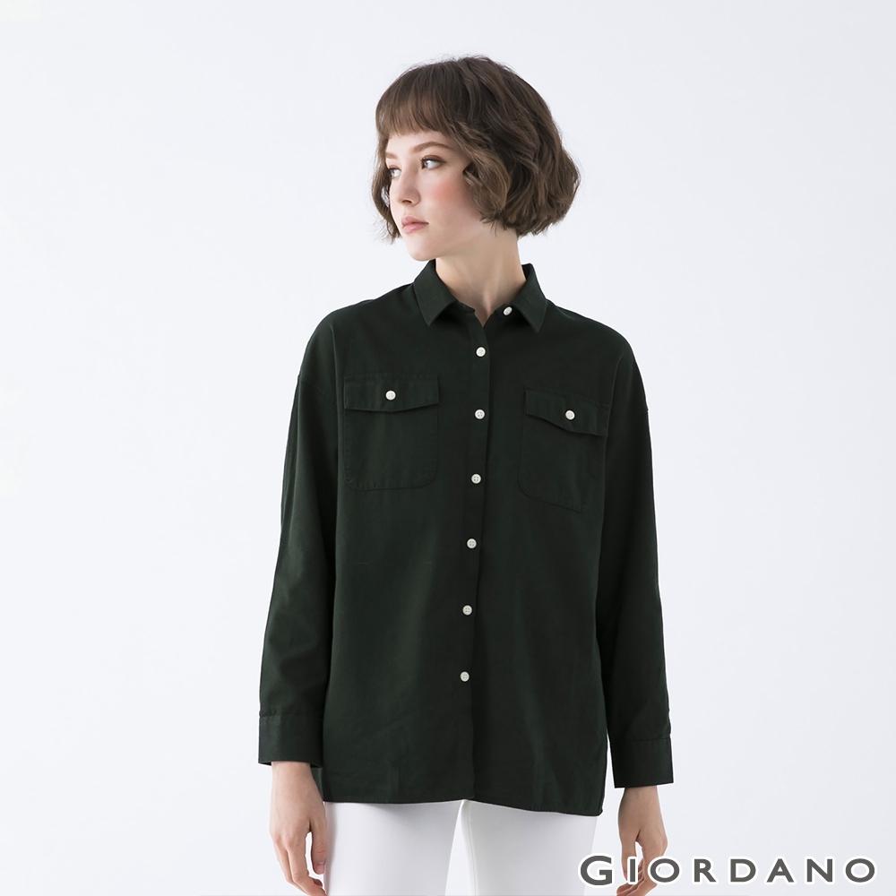 GIORDANO  女裝純棉工裝風襯衫 - 50 綠