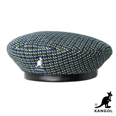 KANGOL-TOOTH GRID 貝蕾帽-藍綠色