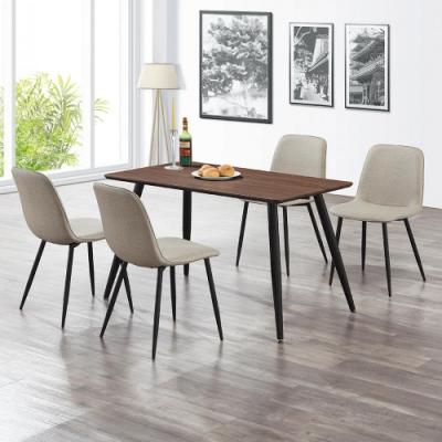 Boden-丹尼4尺餐桌椅組(一桌四椅)-120x70x76cm