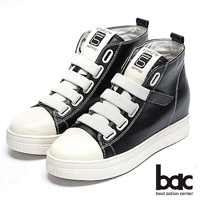 【bac】街頭運動 -撞色彈性織帶內增高厚底懶人休閒鞋