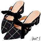 Ann'S春季感格紋-蝴蝶結2way粗跟穆勒鞋-黑(版型偏小)