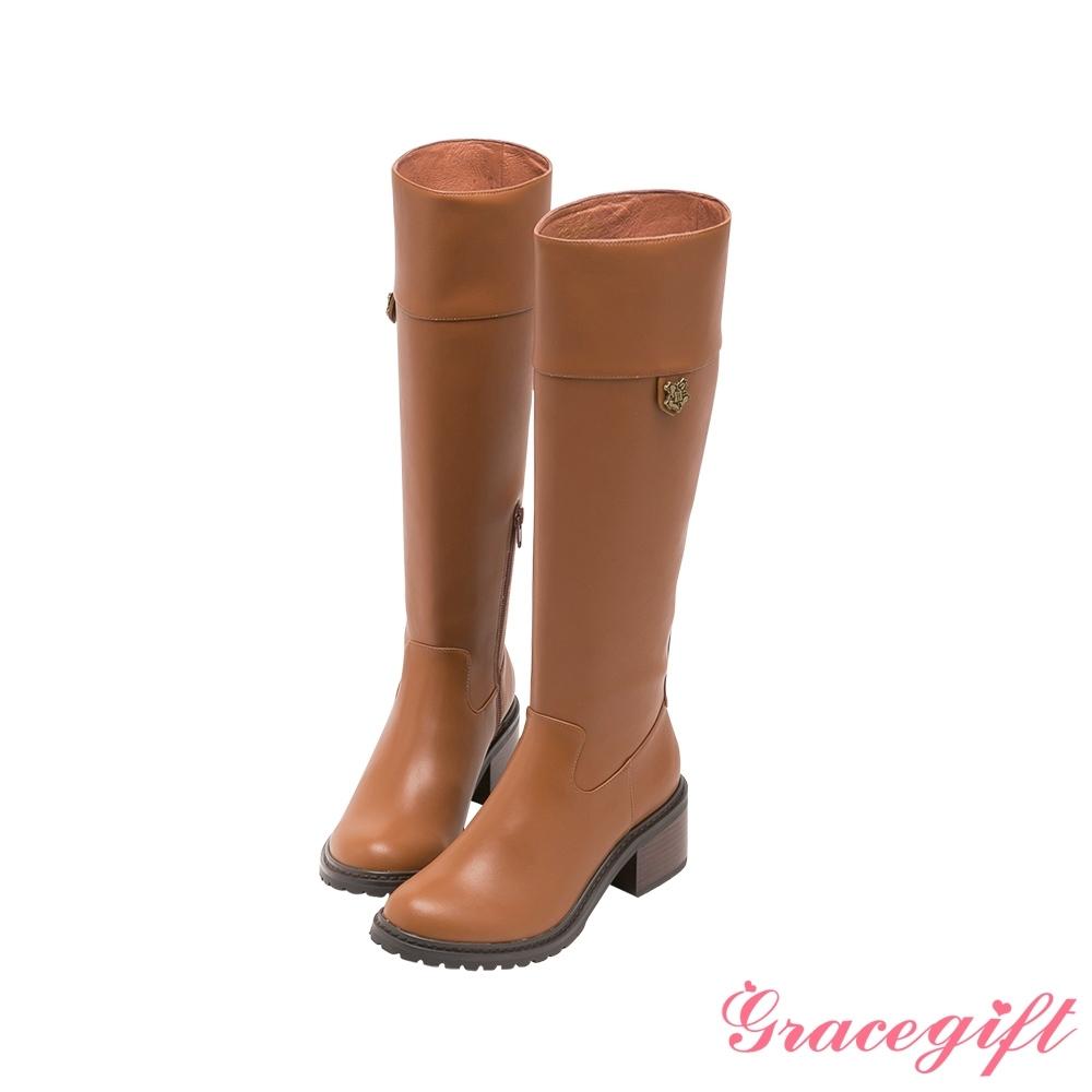 Grace gift-哈利波特霍格華茲徽章低跟長靴 棕