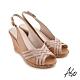 A.S.O 時尚流行 健步美型絨面羊皮條帶魚嘴楔型涼鞋-卡其 product thumbnail 1