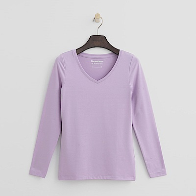Hang Ten - 女裝-ThermoContro恆溫多功能智慧暖溫V領上衣-淡紫