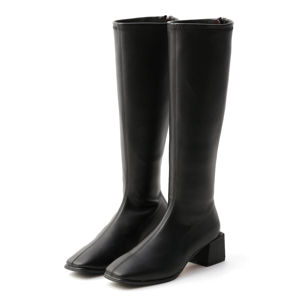 D+AF 氣質好感.素面方頭積木跟長靴*黑