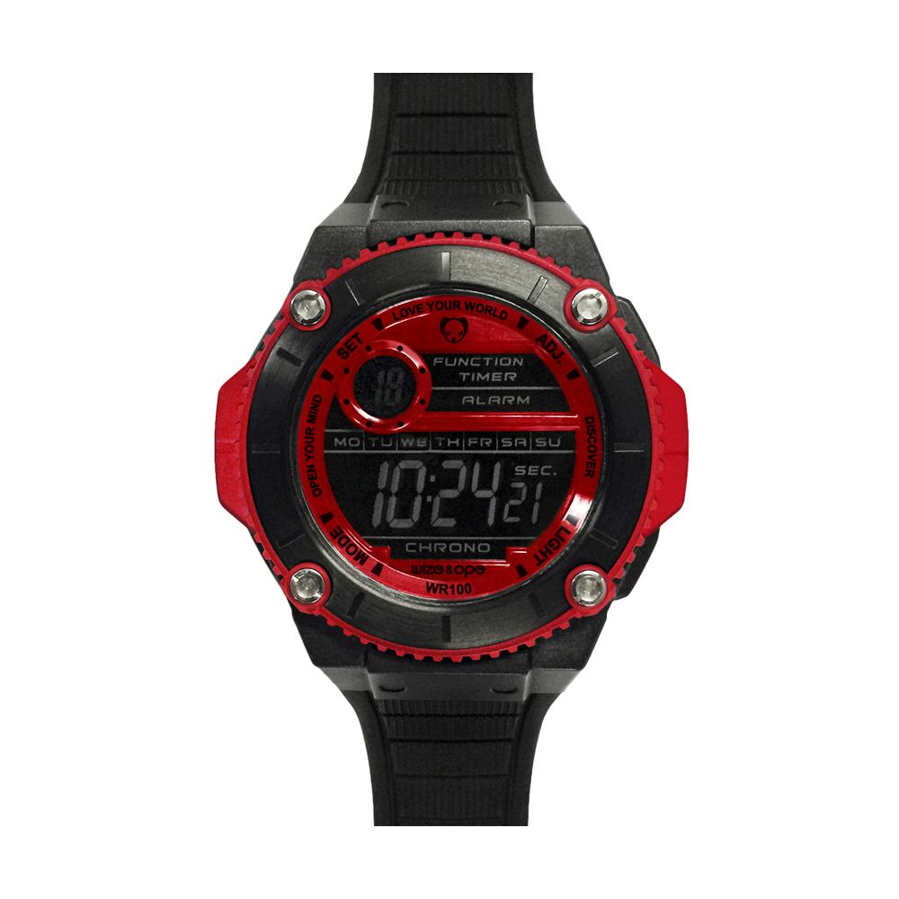 Wize&Ope WAX系列 潮流玩家復刻電子錶-黑x紅/49mm