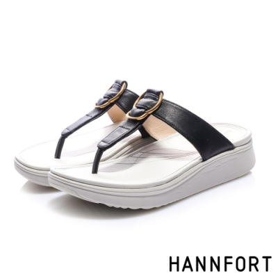 HANNFORT Ultra Comf 4D 羊皮五金厚底拖鞋 女 黑