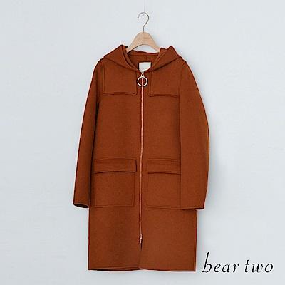 beartwo 連帽長版毛料大衣外套(咖啡色)