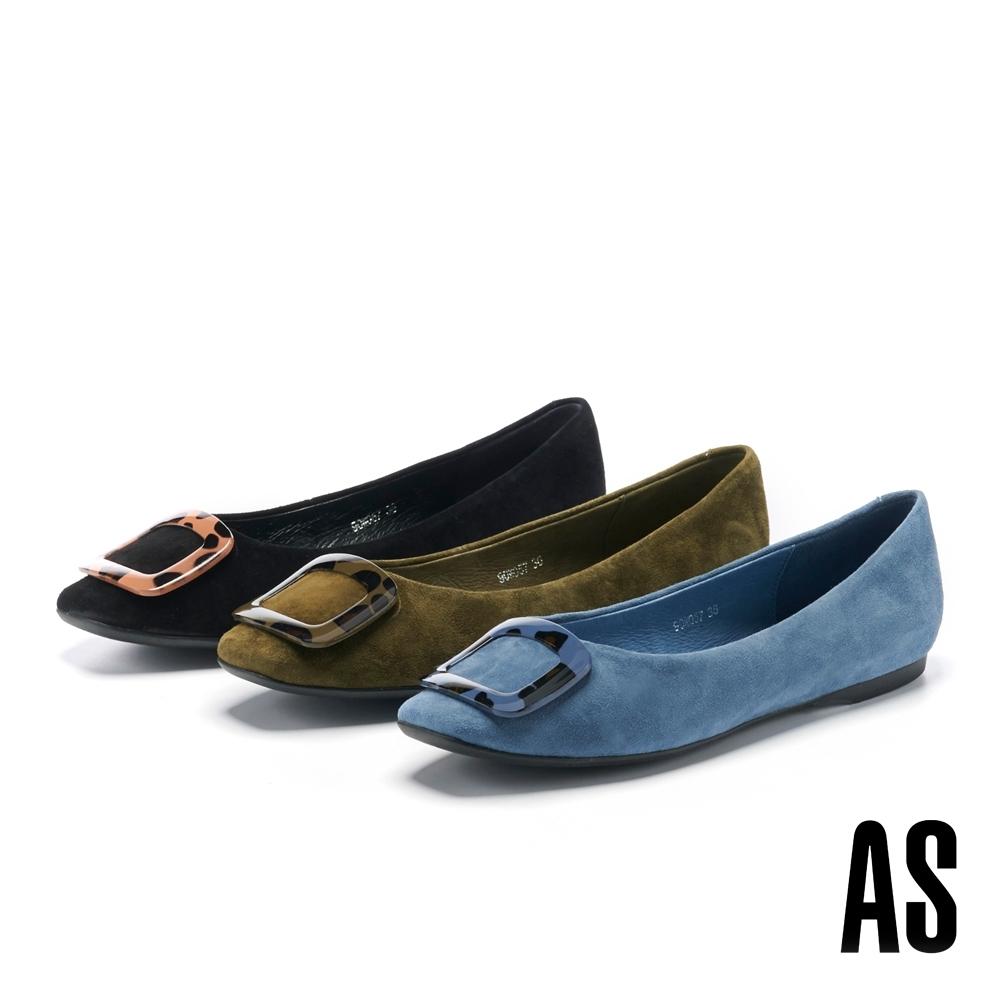 平底鞋 AS 編織造型金屬釦蝴蝶結全真皮娃娃平底鞋-黑