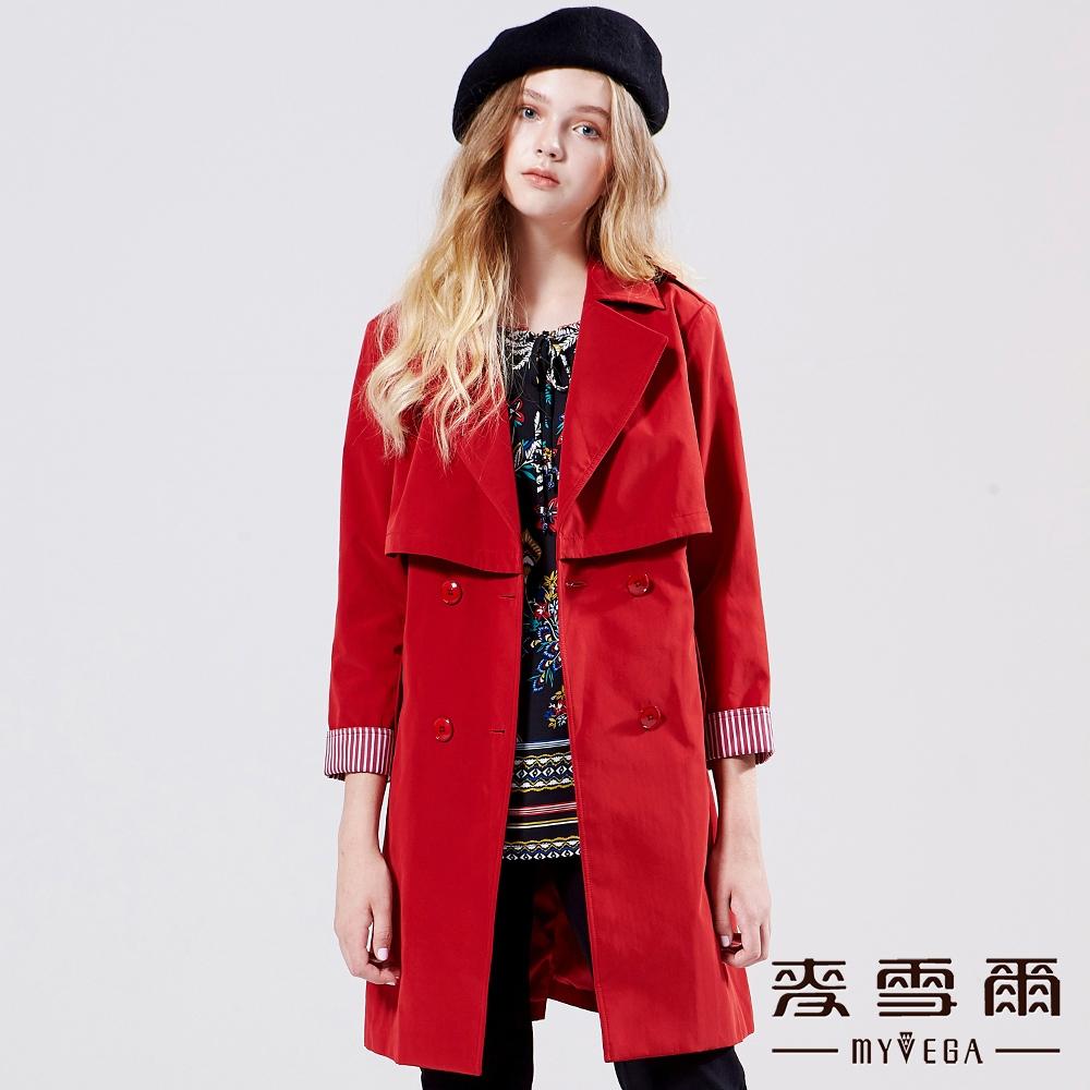 【麥雪爾】歐美挺版雙排扣收腰修身風衣外套