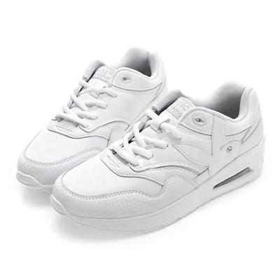 PLAYBOY活氧女孩 仿皮拼接氣墊運動鞋-白