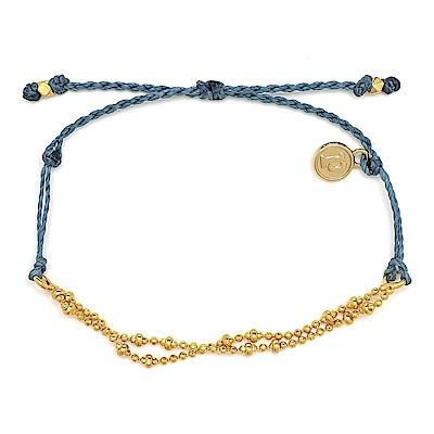 Pura Vida 美國手工 金色Plain Chain 牛仔藍臘線可調式手鍊防水衝浪手繩
