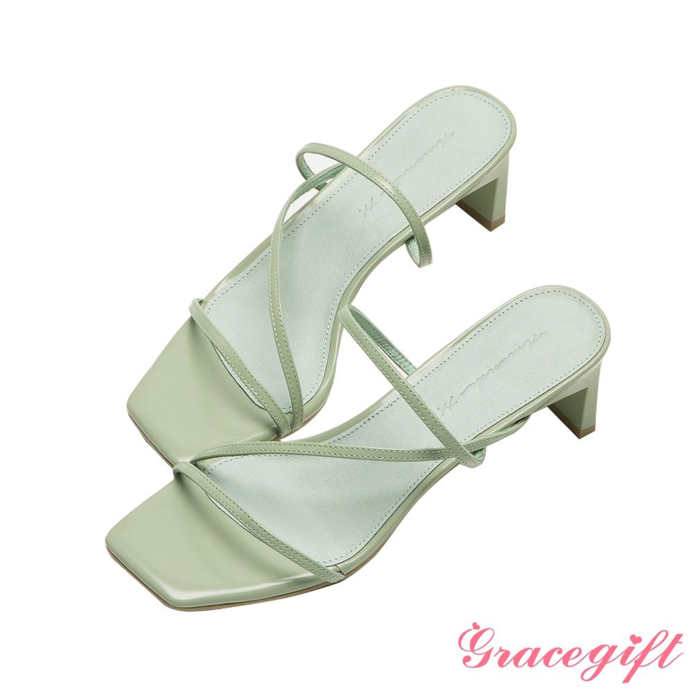 Grace gift X Amanda聯名-全真皮細帶窄跟涼拖鞋 綠