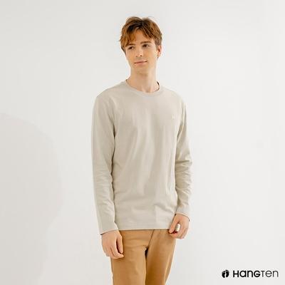 Hang Ten-男裝-厚磅腳丫長袖T恤-米色