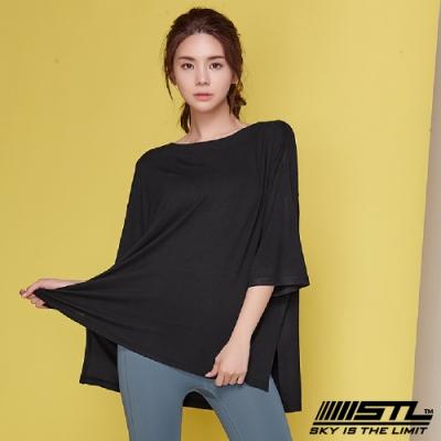 STL Chalang Trim T-shirt 韓運動一字領落肩長版上衣 苗條黑