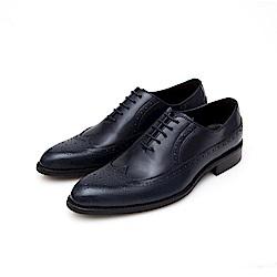 ALLEGREZZA-真皮男鞋-復古品味-藝紋雕花牛津鞋  藍色