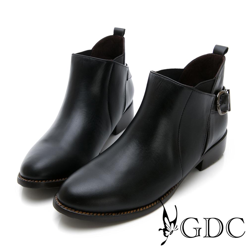 GDC-小巴黎真皮基本款扣環小短靴-黑色