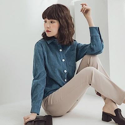 純色復古燈芯絨長袖襯衫-OB大尺碼