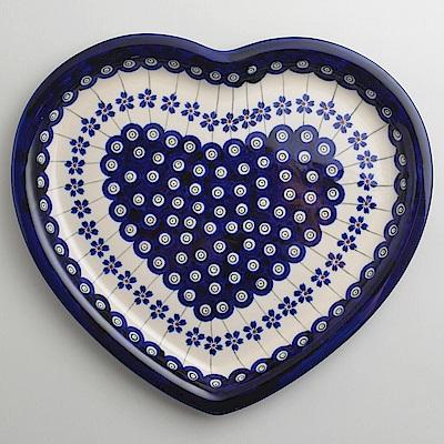 波蘭陶藏青小卉系列愛心造型餐盤波蘭手工製