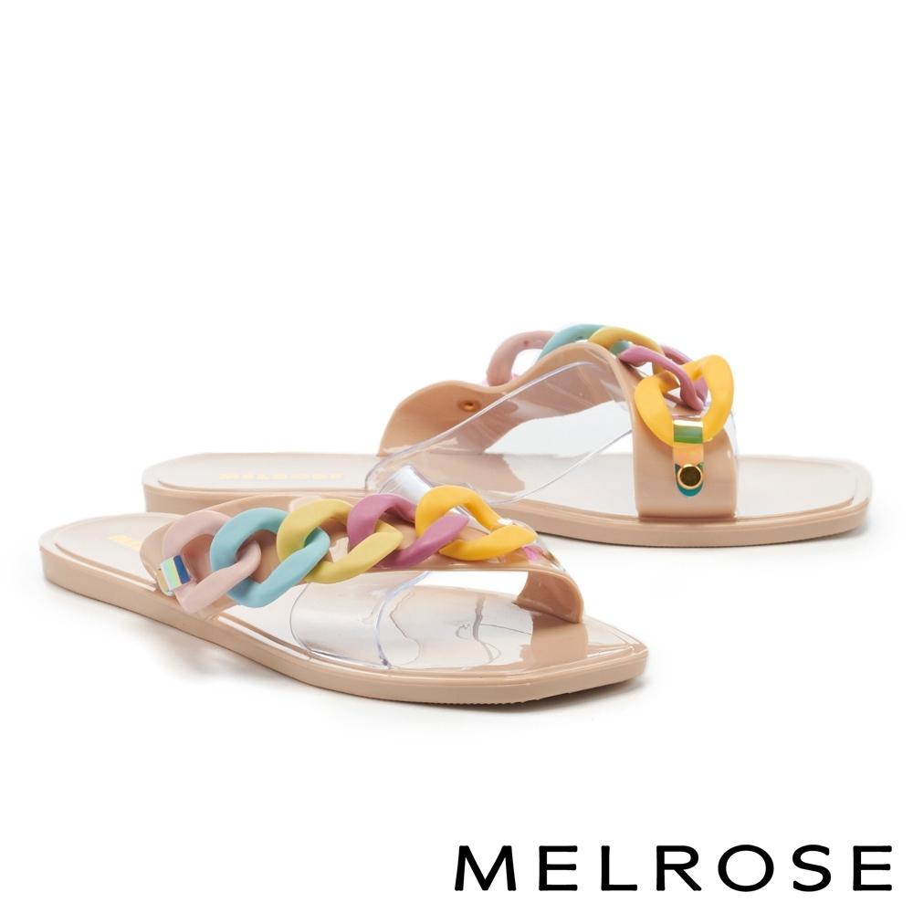 拖鞋 MELROSE 悠閒度假粗鏈條透明片平底拖鞋-彩粉