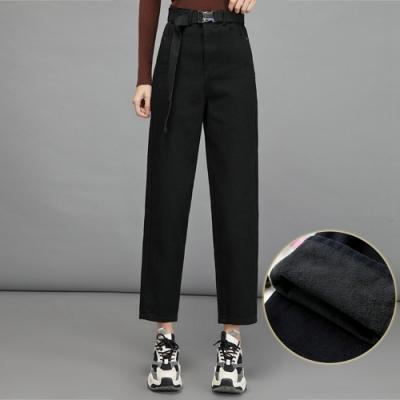 韓版加絨加厚寬鬆休閒直筒褲XS-XL(共三色)-WHATDAY