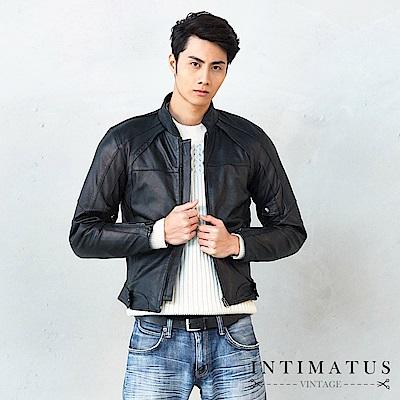 INTIMATUS 真皮 騎士車手風格斜肩設計視覺感加倍小羊皮皮衣 經典黑