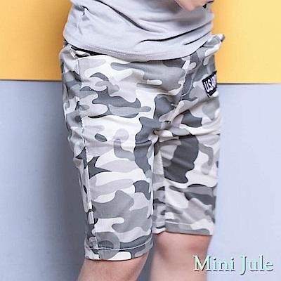 Mini Jule 褲子 滿版迷彩字母貼布鬆緊短褲(灰)