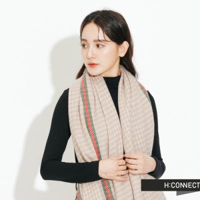 H:CONNECT 韓國品牌 配件 -滾邊千鳥格圍巾-粉