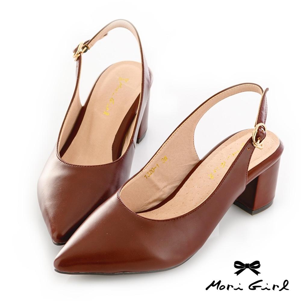 Mori girl復古微尖頭鞋後空中跟鞋 咖
