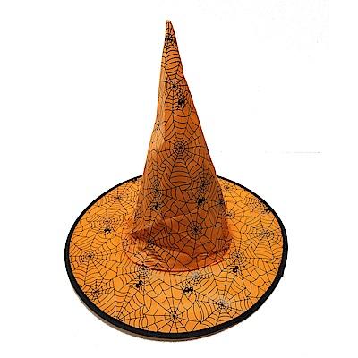 摩達客 萬聖節派對橘色蜘蛛網尖頂巫師帽