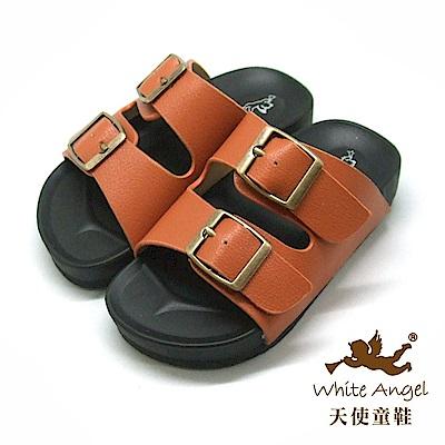 天使童鞋 防水復古雙銅扣拖鞋(中-大童)855-棕