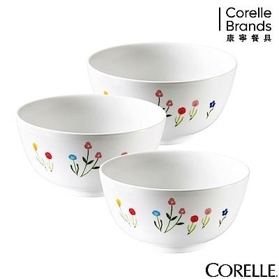 CORELLE康寧 春漾花朵3件式中式飯碗組