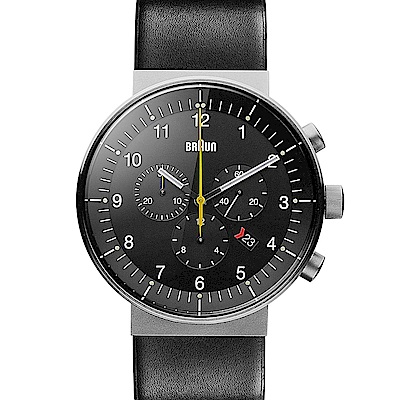BRAUN德國百靈 經典三眼錶 日期窗皮革不鏽鋼錶 -黑色/43mm