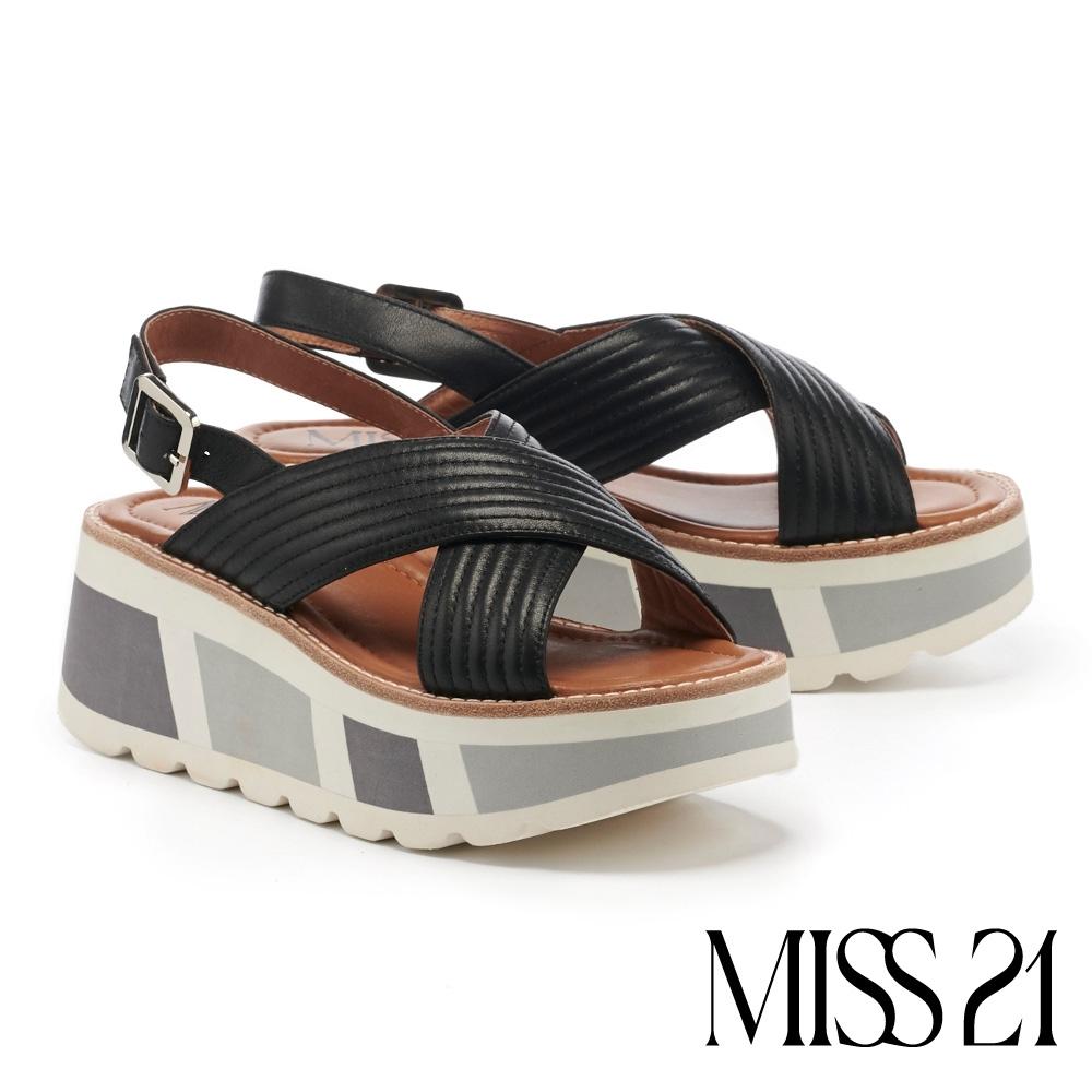 涼鞋  MISS 21  日常百搭牛皮異色拼接厚底涼鞋-黑