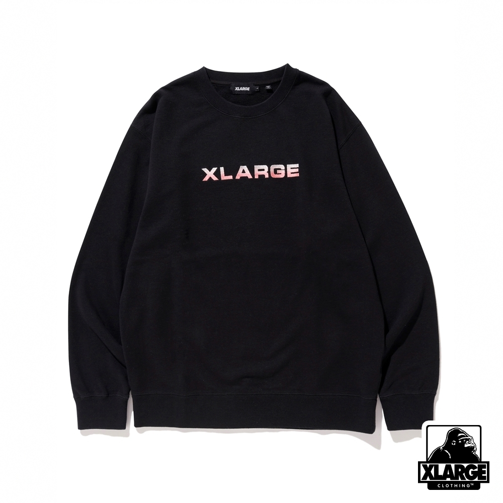 XLARGE EMBROIDERY GRADATION LOGO CREWNECK SWEAT大學T-黑