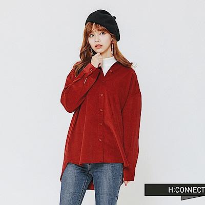 H:CONNECT 韓國品牌 女裝-質感絨面襯衫-紅