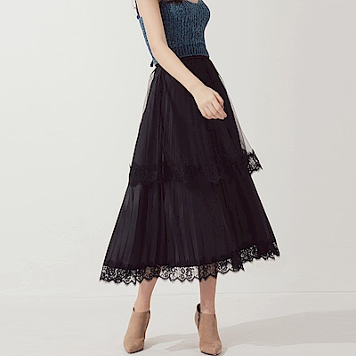 AIR SPACE 蕾絲滾邊層次網紗百褶長裙(黑)