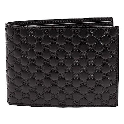 GUCCI 經典Guccissima GG壓紋零錢袋摺疊短夾(咖啡_3卡+零錢袋)