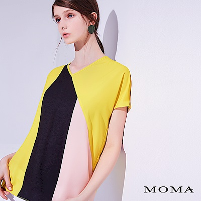 MOMA 拚色色塊V領上衣