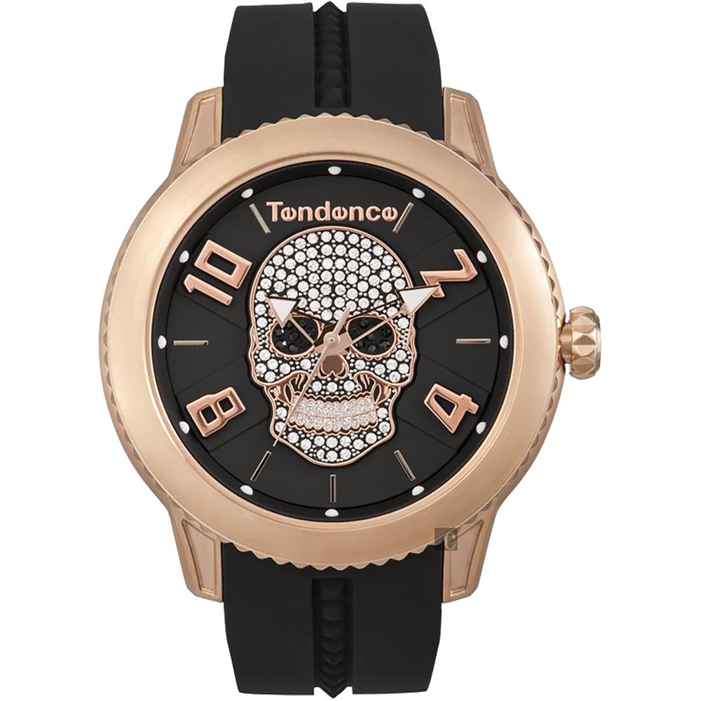 Tendence 天勢 水晶骷髏手錶-玫瑰金框x黑/45mm(TY013504)