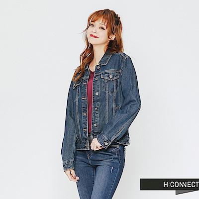 H:CONNECT 韓國品牌 女裝-個性百搭牛仔外套-深藍