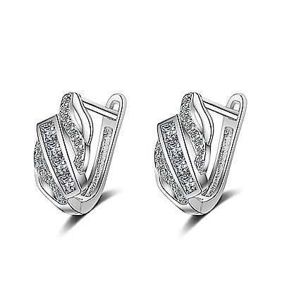 梨花HaNA 韓國S925銀針迷人約定扇型鋯石耳環